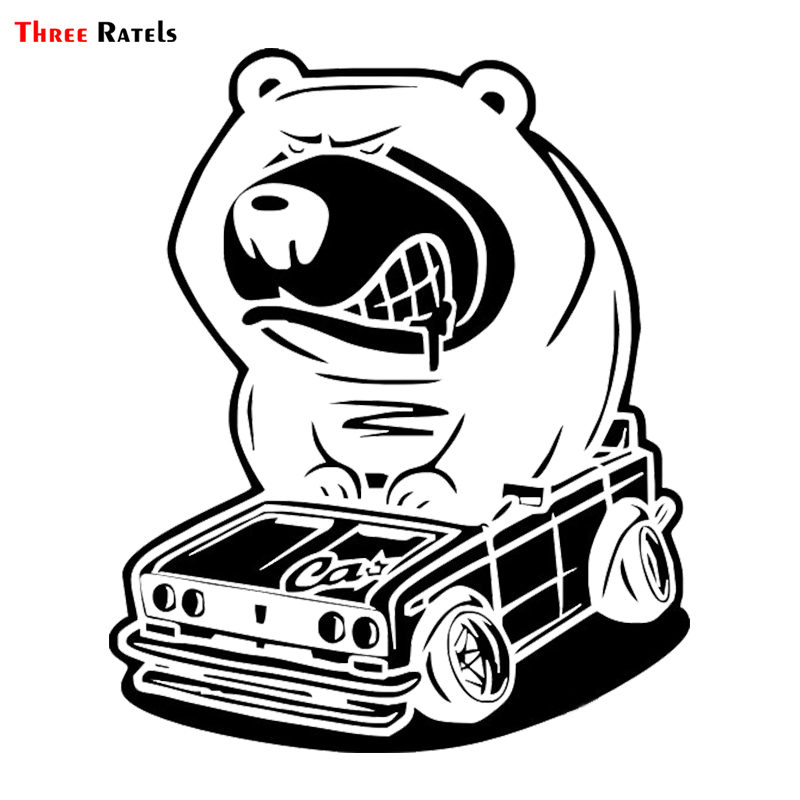 Three Ratels LBH624# 12x15cm animal Angry bear driving car drift funny car sticker auto car  sticker and  decals car