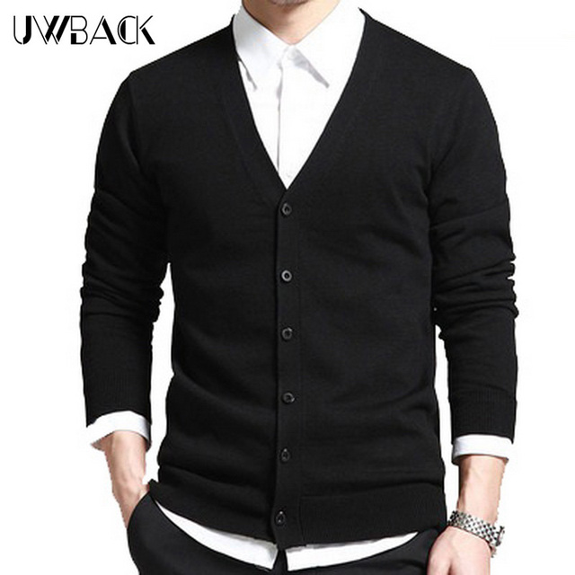 5 Colors! Uwback 2017 New Brand Autumn Wool Cardigan Men V-Neck Long Sleeve Sweaters Man Plus Size 3XL Single Breasted OA039
