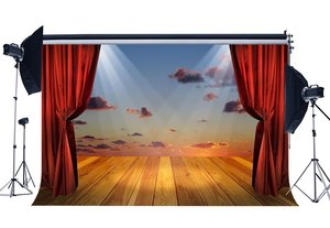 Image 1 - Luxurious Stage Backdrop Interior Theatre Show Backdrops Shining Lights Red Curtain Band Concert Background
