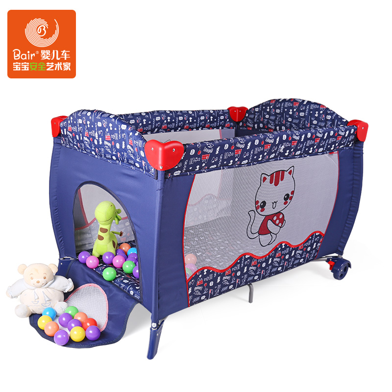 Fashion Baby Cribs 4 in 1, Child Games Bed, Baby Cradle with Wheel & Mosquito net, Fast Folding, Multi-function Newborn Beds