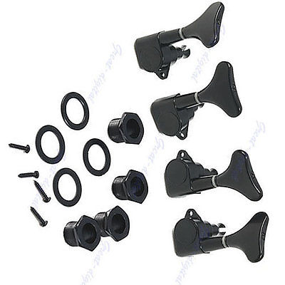 New Black Guitar Sealed Tuners Tuning Pegs Machine Heads 2R2L For 4 String Bass цена
