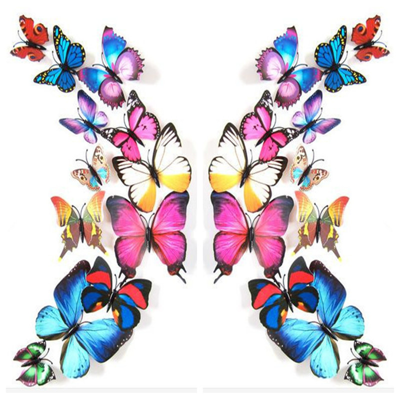 12pcs Art Design 3D Butterfly wedding decor Decal Wall Sticker Home Decor Room Decorations Free shipping  rysunek kolorowy motyle