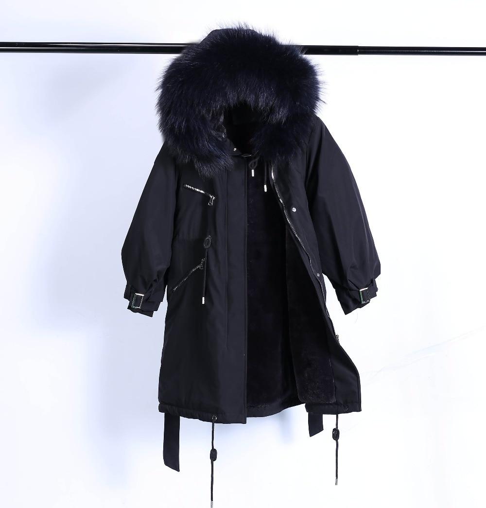 Large Natural Raccoon Fur Winter Jacket Women Hooded 19 Long Parkas For Female Thick Slim Down Winter Coat Women Waterproof 38
