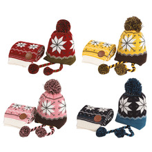 Winter 2Pcs/Set Child Thicken Keep Warm Hats And Scarf Baby Cartoon Knitted Cap For 6 Months - 12 Years Old Boys Girls 2pcs set baby toddler winter set cartoon wool knitting hat scarf warm set infant toddler girls boy knitted keep warm clothes set