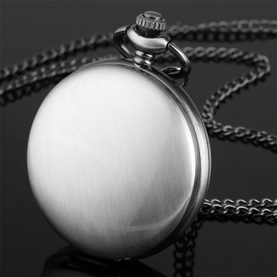 Vintage Grey Smooth Full Hunter Quartz Pocket Watch Arabic Numerals Display Minimalist Antique Pendant Clock With Chain New 2019