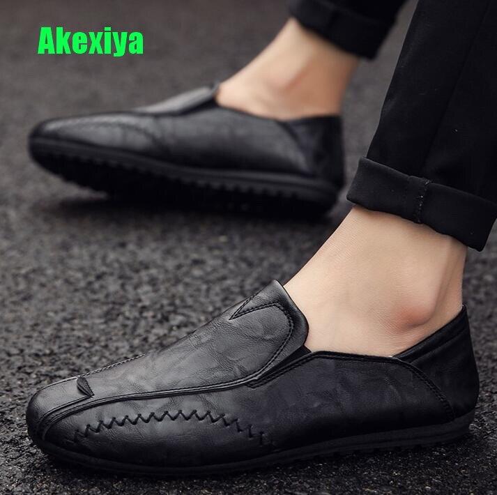 Herrenschuhe Das Beste Akexiya Sommer Leder Mode Männer Casual Wohnungen Schuhe Luxus Marke Herren Loafer Mokassins Atmungsaktive Slip On Driving Schuhe Tn Elegant Im Stil