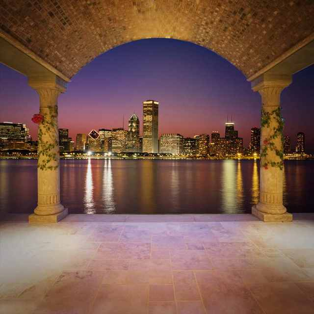Us 27 04 18 Off 10x10ft Violet Sky Cityscape Night River Chicago Skyline Night Time Custom Photo Background Studio Backdrop Vinyl 300cm X 300cm In
