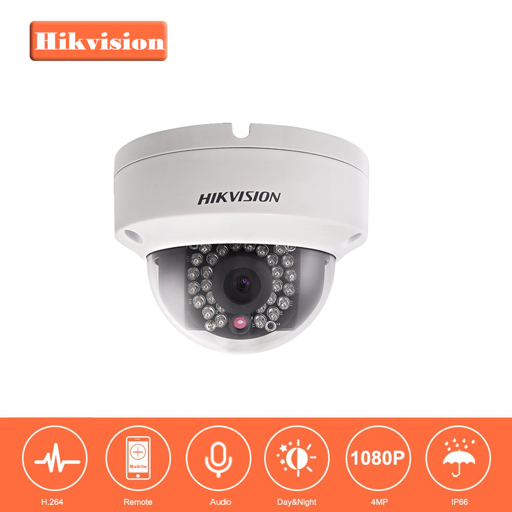 HIKVISION CCTV Camera DS-2CD2142FWD-IS 4 Megapixels CMOS Network Dome Camera 1080P Full HD IP Camera PoE Built-in SD & Audio 16pcs lot hikvision ds 2cd2735f is ip camera 3mp full hd ip66 dome camera water proof poe power network ir