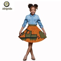 2018~2019 African kids skirt Children clothing pure cotton ankara print short skirt dashiki bazin riche AFRIPRIDE S1847011
