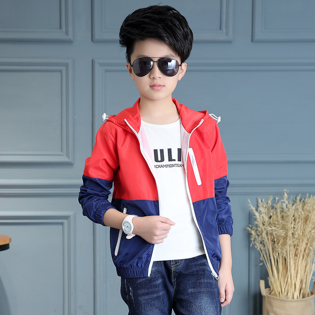 2017 spring and autumn fashion classic children's jacket boy 4-13-year-old color stitching zipper windbreaker