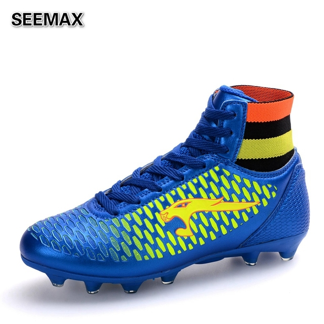 a24f0edc US $30.0 |2016 Brand Men's High Top Soccer Cleats Boots Outdoor Football  Shoes Women Unisex AG Botas de Futbol Boys Soccer Shoes Original-in Soccer  ...