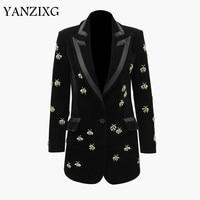 Women Blazer Diamond Drill Velvet Womens Blazers Long Sleeve Ladies Blazer Jacket Single Button Jacket Black Coat Z060