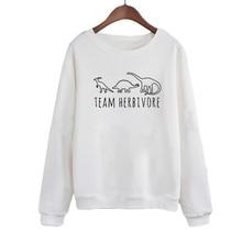 Team Herbivore Harajuku Vegan Slogan Women Sweatshirt 2019 Autumn Winter Fashion Print Hoodies Black White Graphic Pullovers