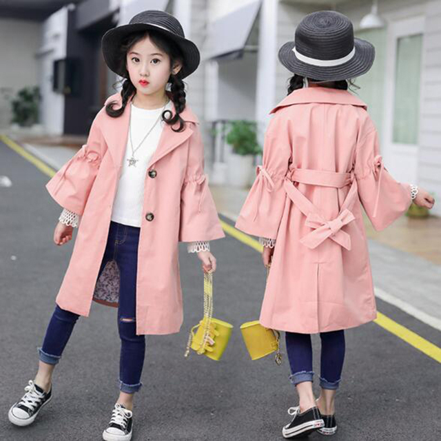 abc2af067 Spring Coat Jackets 2019 New Autumn Winter Baby Girls Coats Warm Kids Turn  down Pink/Khaki Color For Outerwear