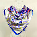 China Style Blue White Flower Silk Scarf Printed For Women Fashion Brand 100% Silk Scarves Wraps 90*90cm Spring Ladies Scarves