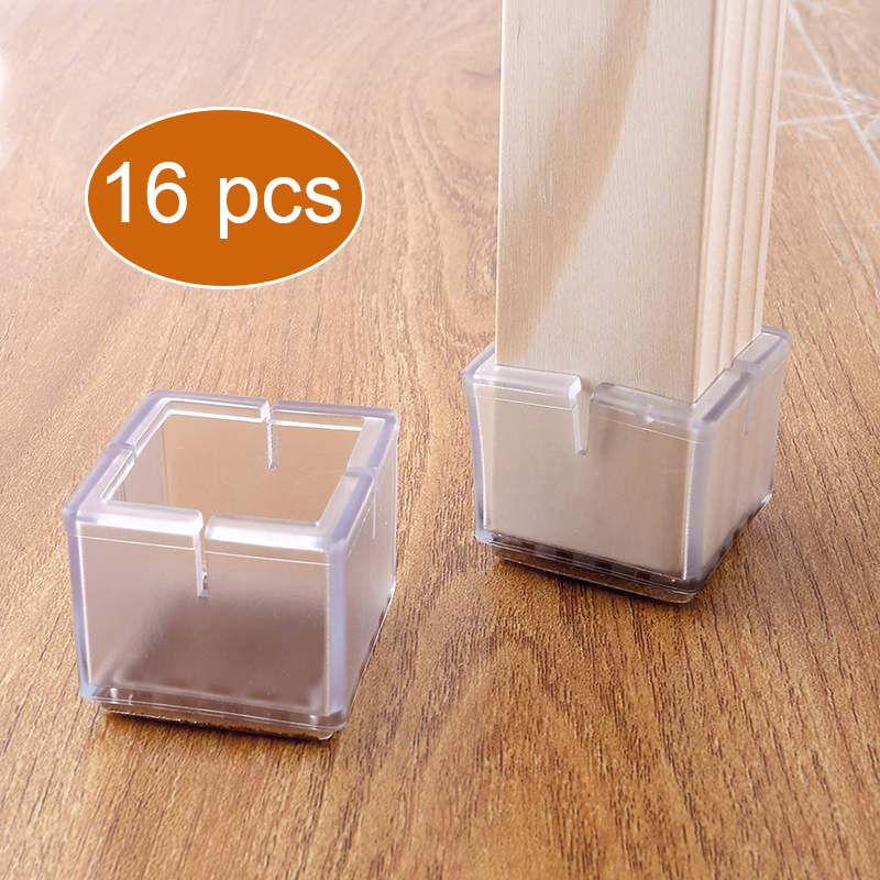 16 Pcs/set Rectangular Chair Leg Caps Chair Leg Protector Covers Furniture Table Leg Covers Round Bottom Circle For Round Square