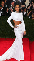 2014 Latest Met Gala Long Sleeve White Prom Dress Jewelry Neck Two Piece Backless Red Carpet Celebrity Inspired Dress R5