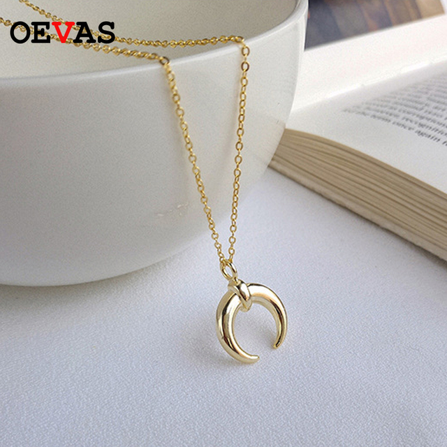 81b1334eb693 100 Real Pure 925 Sterling Silver Moon Necklaces For Women S925 Gold Color  Top Quality Necklace