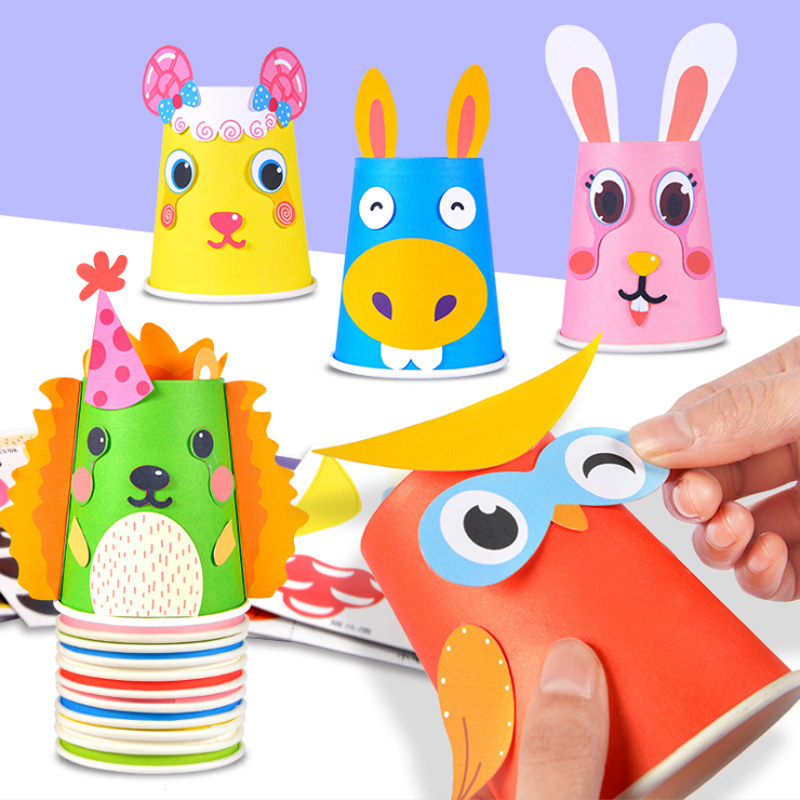 Kids DIY Toys 3D Handmade Paper Cups Sticker Material Set Educational Toys For Children Creative DIY Animal Cups Funny Toys Kit