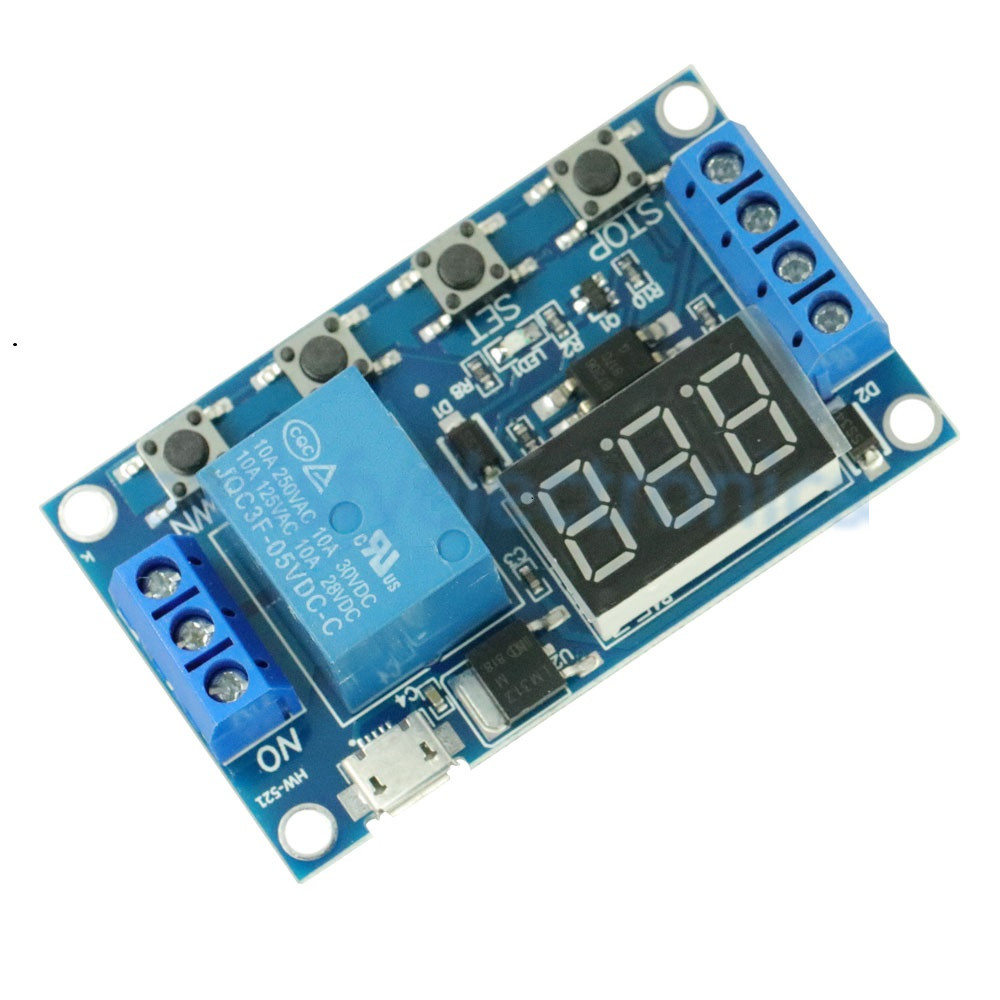 5V Micro USB Time Delay Relay Module 4 Button 3 Digit Digital Tube LED Digital Time Delay Relay Trigger Timer Control Switch