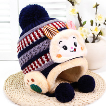 2500c1e296e Children s Fall And Winter Ear Cap Scarf Piece Fitted Little Monkey Small  Knit Hat Kids Boys