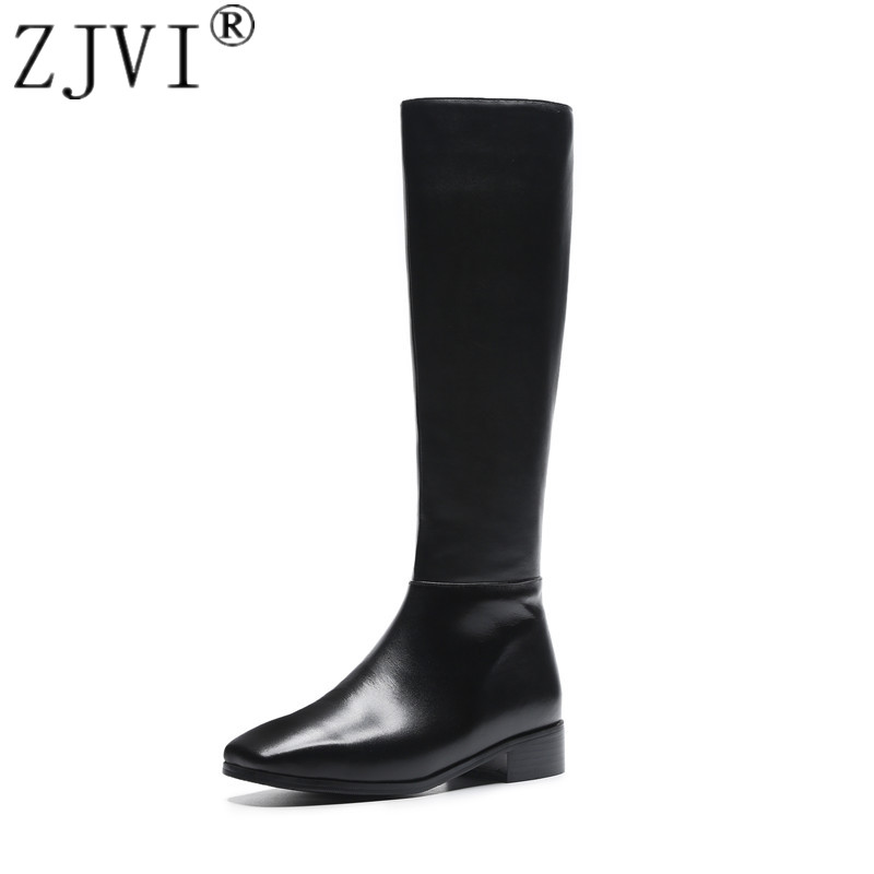 ZJVI women genuine leather thigh high boots womens winter autumn knee high boots 2019 hot black square toe low heels woman shoesZJVI women genuine leather thigh high boots womens winter autumn knee high boots 2019 hot black square toe low heels woman shoes