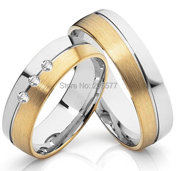 2014 European and Korean style Handmade Gold plating titanium wedding bands engagement love couples rings sets Anel anel de prata his and hers rings white gold plating pure titanium engagement wedding bands rings 2014