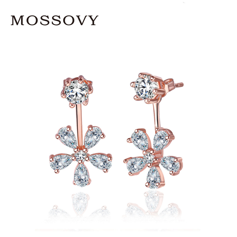 Mossovy Rhinestone Sun Flower Stud Earrings Elegant Delicate Accessories  Exquisite Earring Fashion Jewelry Bijoux Gift for Women 4d98c8fa2349