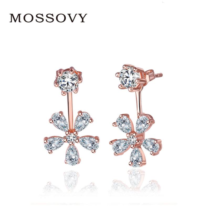 Mossovy Rhinestone Sun Flower Stud Earrings Elegant Delicate Accessories  Exquisite Earring Fashion Jewelry Bijoux Gift for Women f95b11803fd9