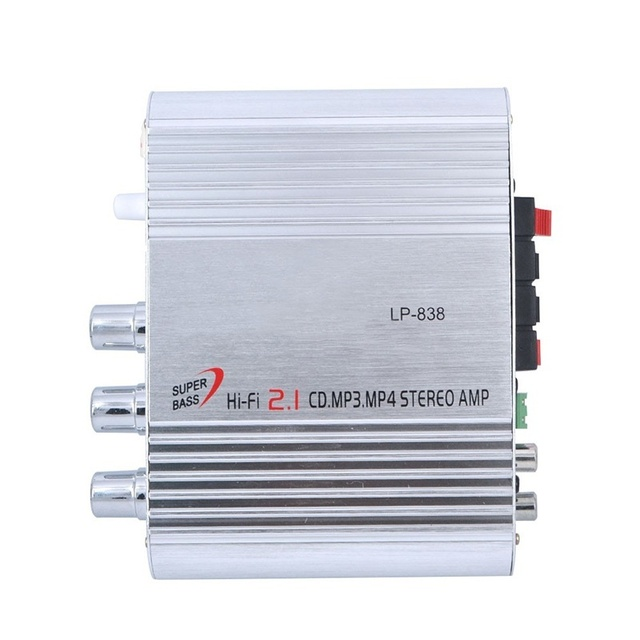 High Quality Car Amplifier LP-838 12V Smart Mini Hi-Fi Stereo Audio Amplifier for Home Car Auto MP3 MP4 Stereo Boat Motorcycle 3