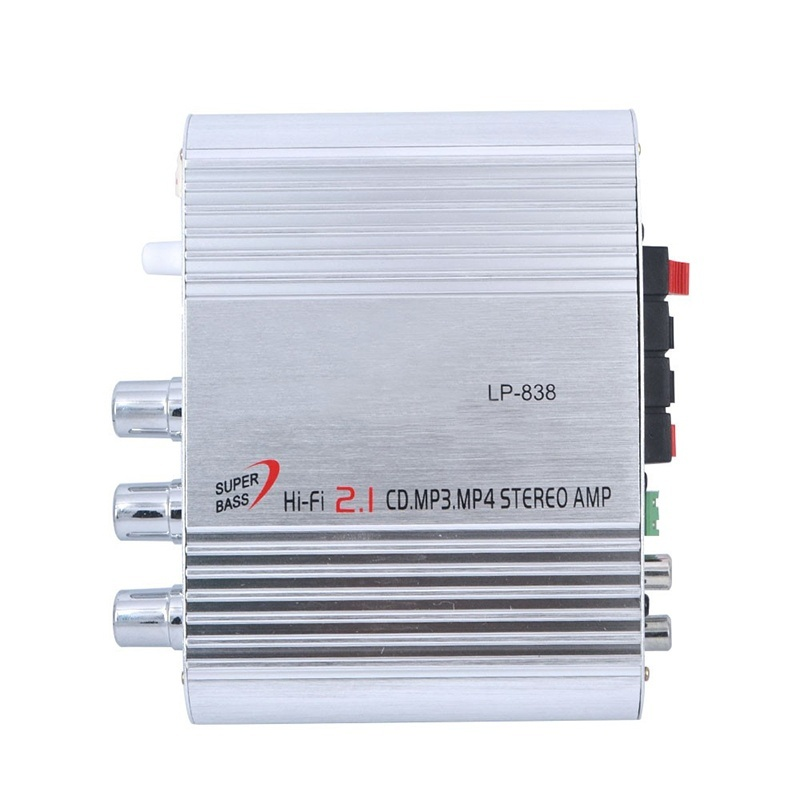 High Quality Car Amplifier LP 838 12V Smart Mini Hi Fi Stereo Audio Amplifier for Home Car Auto MP3 MP4 Stereo Boat Motorcycle in Amplifier from Consumer Electronics