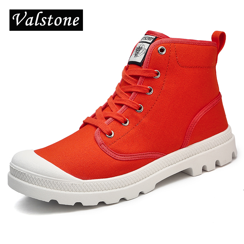Valstone Women's Hand made Martin Boots Canvas Ankle Boots Unisex high tops sneakers Parlatan shoes anti-skid sole plus sizes 47 fall trendboots in europe and america heavy bottomed martin boots british style high top shoes shoes boots sneakers