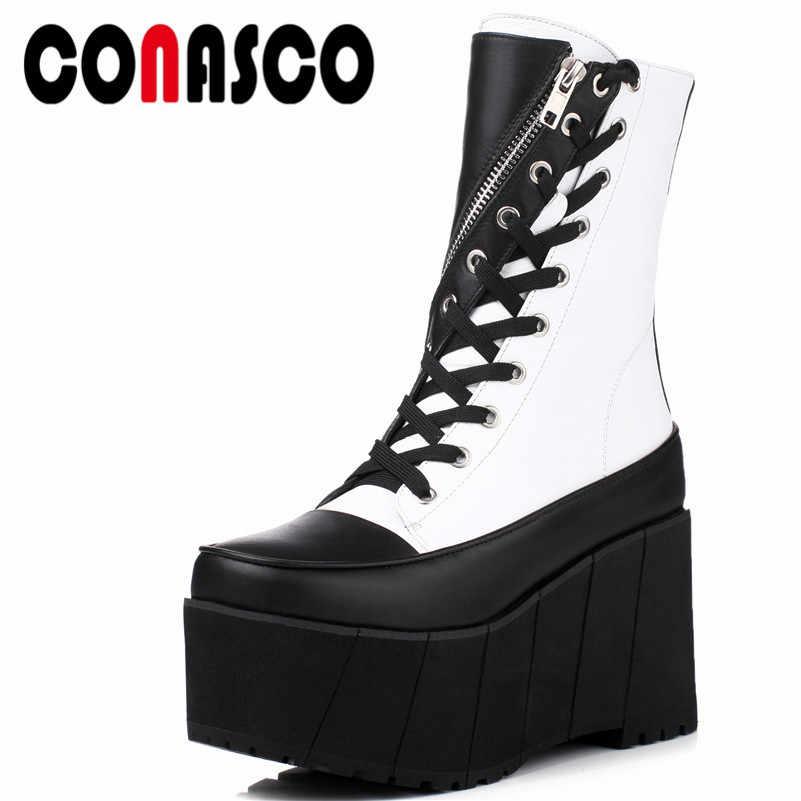 d92241f51 Conasco1модные женские сапоги до середины икры из натуральной кожи  осень-зима теплая обувь на плоской
