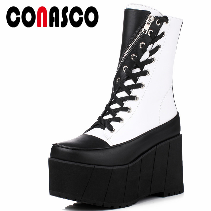 CONASCO1Fashion Women Mid-Calf Boots Genuine Leather Autumn Winter Warm Platforms Flats Round Toe Casual Top Quality Shoes Woman