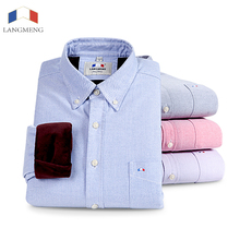 Langmeng Brand Men Long Sleeve Winter Warm Casual Shirt Mens Thick Velvet Oxford Dress Shirts Slim Fit Male plus size 5XL