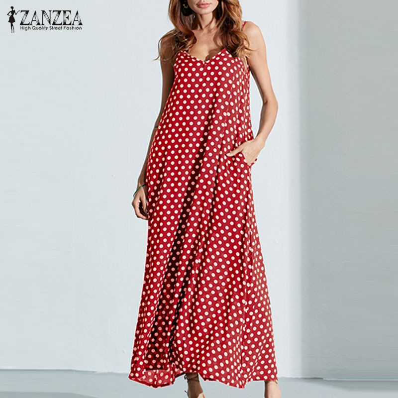 6XL Plus Size Summer Dress 2018 ZANZEA Women Polka Dot Print V Neck Sleeveless Sundress Loose Maxi Long Beach Boho Vintage Dress 1