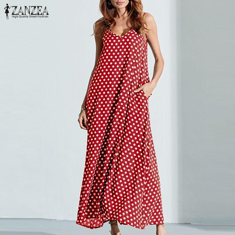 6XL Plus Size Summer Dress 2018 ZANZEA Women Polka Dot Print V Neck Sleeveless Sundress Loose Maxi Long Beach Boho Vintage Dress 1