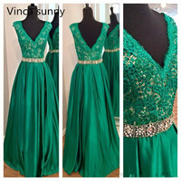 2016 Emerald Green Lace Prom Dresses Long Sexy Pageant Gowns Formal Party Dress V Neck Plus