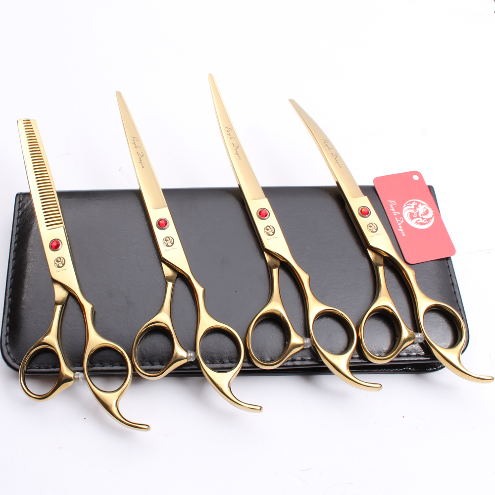 Z3003 4Pcs Set 7 Golden Color Pets Hair Suit Cutting Shears + Thinning Scissors + Professional Dogs Cats Up/Down Curved ShearsZ3003 4Pcs Set 7 Golden Color Pets Hair Suit Cutting Shears + Thinning Scissors + Professional Dogs Cats Up/Down Curved Shears