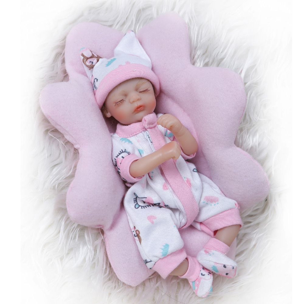 Nicery 8inch 20cm Bebe Reborn Mini Doll Soft Silicone Lifelike Toy Gift for Child Christmas Cute Girl Pink Pillow