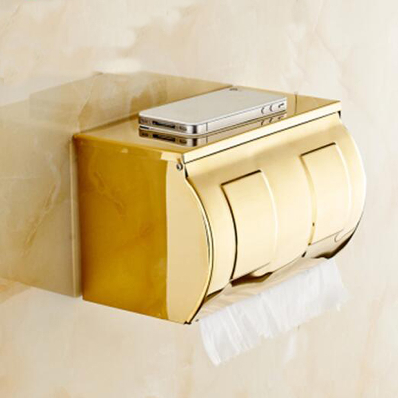 Wholesale And Retail Luxury Polished Golden Bathroom Toilet Paper Holder Tissue Box Wall Mounted Dual Paper Boxes kitbun6101bwk390 value kit toilet tissue 9quot diameter bun6101 and boardwalk disposable apron bwk390