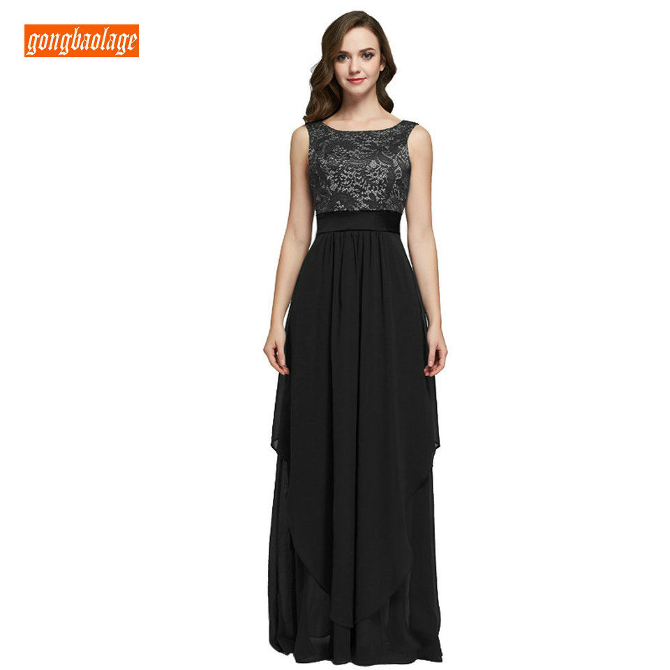 Elegant Black Women Long Evening Dress 2019 Dark Navy Formal Party Dress Chiffon Lace Zipper Slim