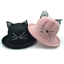 Cartoon Lace Cat Ear Bucket Hats Women Outdoor Sunhat Fashion Ears Curling Brim Animal Cap Beach Fishing Hat