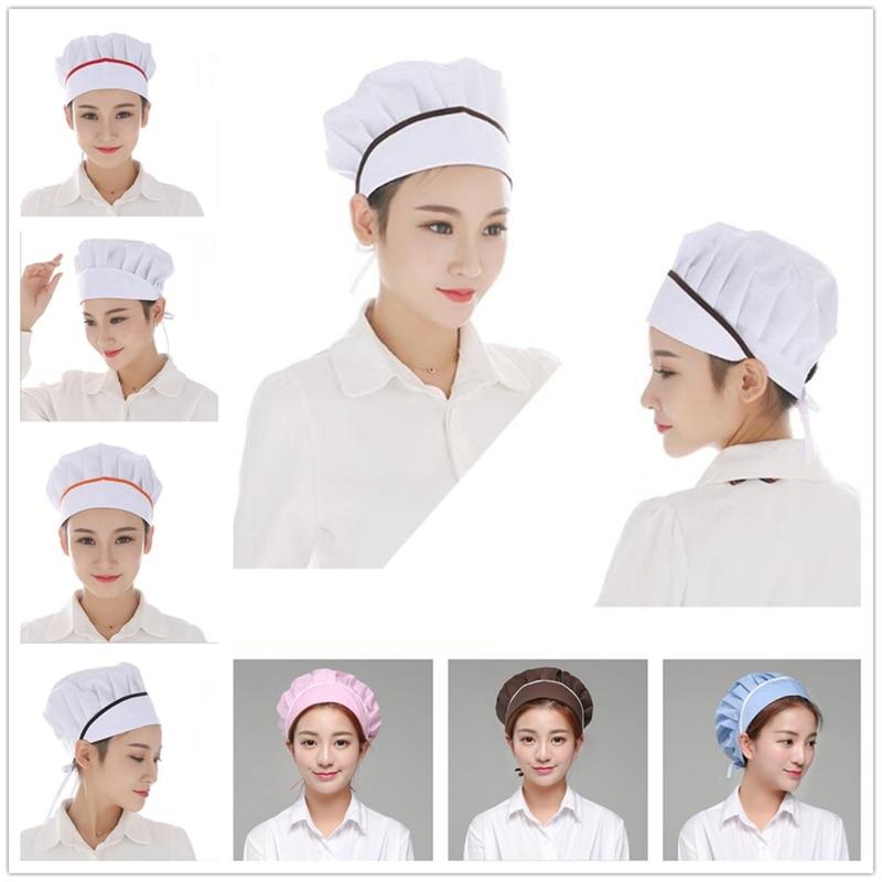 Solid Blue White Black Pink Cap Catering Chefs Kitchen Bread Women Men Adjustable Baker Workshop Hat Accessories BBB0010