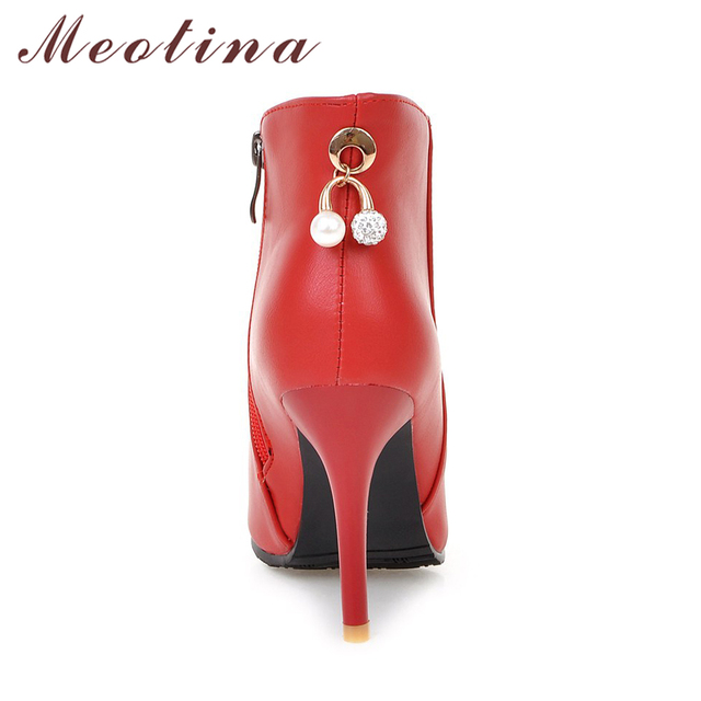 Meotina Women Boots Ankle Boots for Women 2017 High Heels Short Boots Autumn Rhinestone Ladies Shoes Zip Red White Size 44 45 11