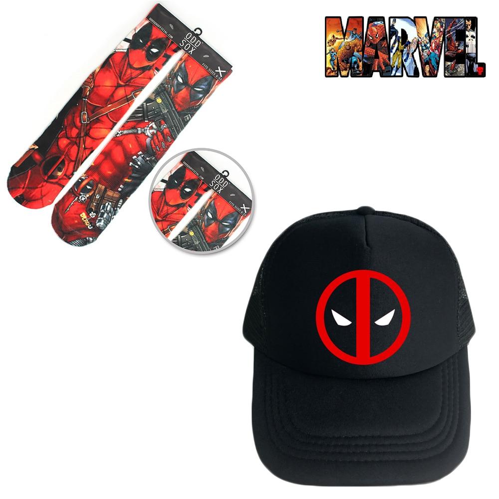 OHCOMICS 2PCS Hot Marvel Deadpool Cap+Socks Hat Peaked Cap Baseball cap Stockings Hose Tight Costume Accessory Clothing Set