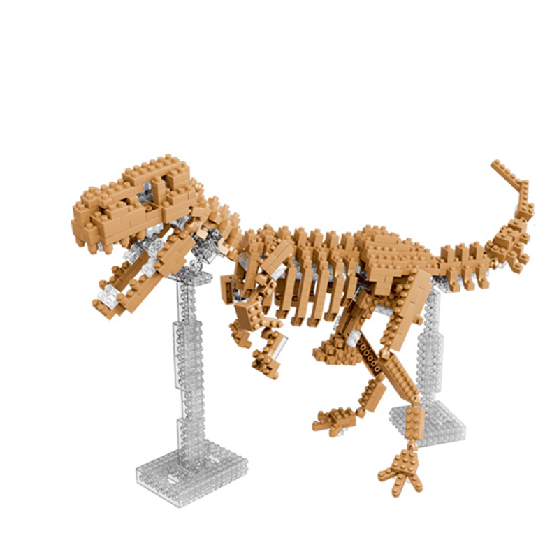 3D Mini Nano Diamond Dinosaur Fossil Skull Animal Model Set Toys Building Bricks Educational DIY Action Figure Toy diy piececool 3d metal model toy dinosaur rock p062s orignal design puzzle 3d metal educational models brinquedos kids toys