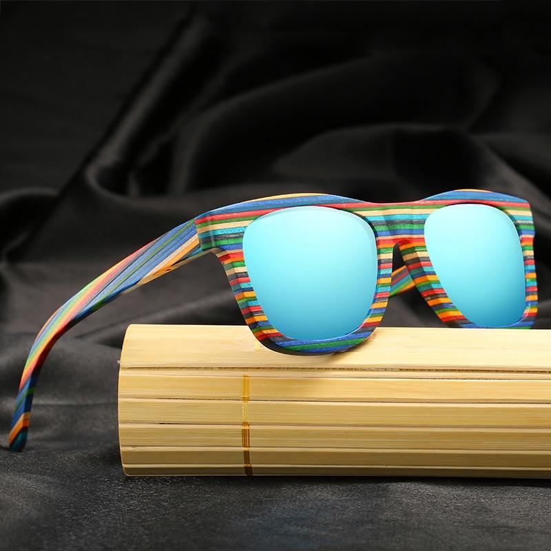 Di Legno di bambù Occhiali Da Sole Da Uomo occhiali Da Sole Polarizzati Di Vetro Classica Cornice Della Banda Delle Donne di Piazza di Skateboard Occhiali