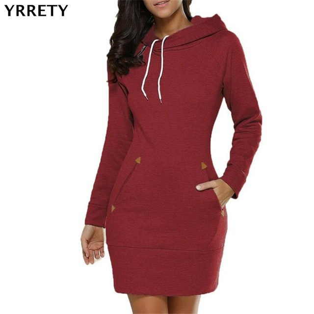 6a705df1372 YRRETY 2018 Autumn Hooded Dresses Women Pocket Long Sleeve Mini Hoodie  Dress Plus Size Winter Casual