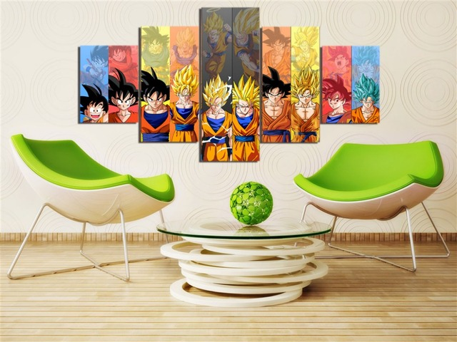 Dragon Ball Z Goku Evolution 5 Pieces Canvas Picture Art